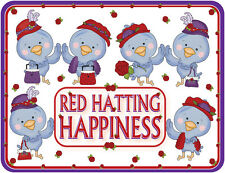 3X PURPLE T SHIRT RED HAT BLUE BIRDS OF HAPPINRESS FOR RED HAT LADIES OF SOCIETY