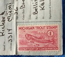 Vintage State of Michigan 1949 Fishing License Trout Stamp