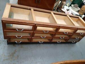 1960's Wooden Haberdashery Twelve Draw Under Counter Cabinet / Shop Display