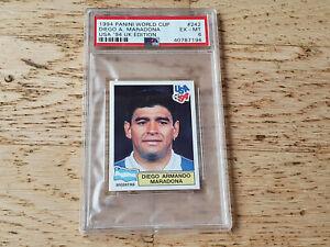 Panini 1994 World Cup USA 94, rare sticker card Diego Maradona #242, PSA 6 EX-MT