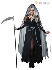 Ladies Deluxe Grim Reaper Costume Size 14 16 Halloween Fancy Dress Outfit Womens