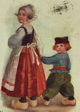 Postcard Dutch Boy & Girl Netherlands Wooden Clogs Victorian c. 1907 Vintage