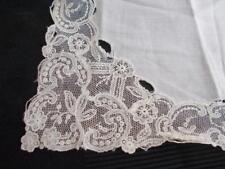 Brussels Point de Gaze lace handkerchief Antique white 8 1/2 inch square vintage
