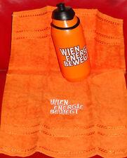 2x Kunststoff Trinkflasche SPORT m.Sportverschluss + kleines Handtuch orange NEU