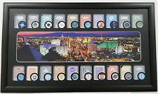 Las Vegas Framed Art  20 Casino Poker Chips & 20  Casino Playing Cards Display