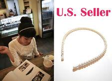 Beautiful Cute Beaded Pearl Princess White Vintage Hair Cuff Hairband Headband