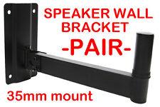 2x Heavy Duty Adjustable Black Wall PA Speaker Stand Bracket Mount Top Hat 35mm