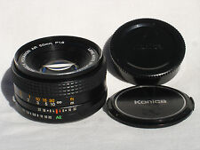 KONICA HEXANON AR 50mm f1.8 prime lens with genuine caps