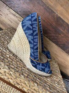 Michael Kors Denim Blue Wedge Espadrille Shoes Monogram Size 8 Cabana
