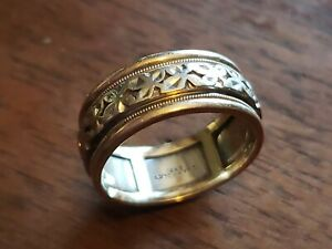 Vintage ARTCARVED 14K White On Yellow Gold Floral 8mm Wedding Band Size 8.25