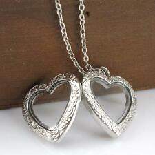 Women's Silver Heart Shape Couple Photo Locket Crystal Floating Pendent Necklace