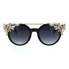 Womens Rhinestone Jewel Trim Diva Bling Horn Rim Sunglasses