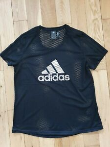Adidas Climate Black Mesh T Shirt Ladies Size L 16-18