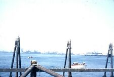 VINTAGE  SLIDE SL82 ☆ 1950's RED KODACHROME LONG BEACH HARBOR 706A