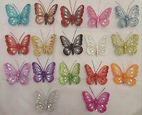 Set of 6, 8cm Jewelled & Glittered Mesh Clip-On Butterflies -Decorative -Wedding