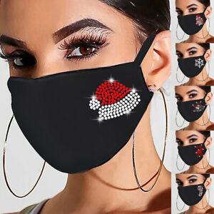 Christmas face mask glitter bling washable Reusable designer covering Xmas Gift`