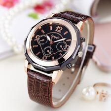 Faux Leather Black Brown Stylish Women's Watch Analog Quartz Casual Wrist Watche