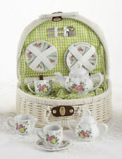 Delton Children's Porcelain Tea Set for 2 in Wicker Basket HUMMINGBIRD