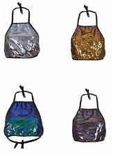 WOMEN SEQUIN CROP TOP SEXY BACKLESS SUMMER FESTIVAL CLUB WEAR SIZE 8 - 12