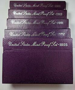 1988,89,91,92,93 S  Lot of 5 U.S. Proof Sets 186739R
