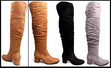 Womens Thigh High Boots Ladies Over the Knee Slouch Mid Heel Faux Suede Boots UK