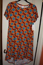 LuLaRoe - Carly Dress - Burgundy, gold, blue geom - Small - NEW with tags