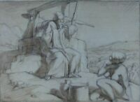 Antique Watercolour Pencil Drawing Painting  Jesus talks with Samaritan Woman??