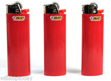 3 Red Bic Lighters - Standard Size Dark / Scarlet Red Bic Lighters