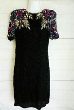 Vintage Stenay India Black Silk Rainbow Floral Sequin Beaded Formal Dress 6