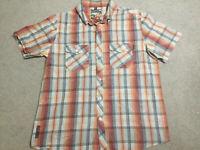 Mambo Loud Mens Short Sleeve Button Check Shirt Size Extra Large XL Royal Mambo