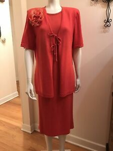 St John Coral 2 Pc Knit Suit Sz 14 Jacket And Dress Needs Cleaning