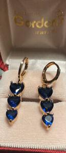 Grandma Blue Tanzanite Heart Cut Drop  Earrings 14kt. Over
