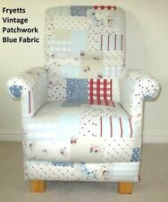 Fryetts Vintage Patchwork Blue Fabric Adult Chair Red Gingham Armchair Stripes