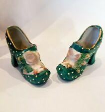 Vintage Pair Miniature Porcelain High Heel Shoes Floral Design