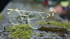 Steampunk Gold Rim Design Frame High Bar Round Transparent Clear Sunglasses