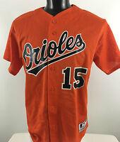 0fc159689 BALTIMORE ORIOLES  15 Majestic Baseball Orange Mesh Button Up JERSEY Shirt  sz L