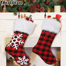 Check Buffalo Plaid Christmas Stocking Gift Bag Holder Xmas Tree Ornaments Decor