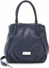 Marc Jacobs New Q Fran Italian Leather Shoulder Bag in Dark Blue 448.00