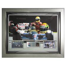 Signed Ayrton Senna photo & Nigel Mansell 1/2 Scale Helmet F1 Framed Display