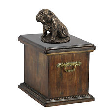 Solid Wood Casket  Bulldog sittin Memorial Urn for Dog's ashes,with dog statue.