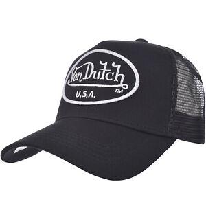 Von Dutch Mens Patch Logo Adjustable Snapback Trucker Cap Hat - Black