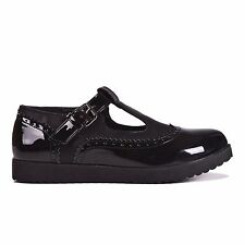 LADIES WOMENS FLAT T-BAR FAUX LEATHER PATENT SHOE WITH BUCKLE STRAP K772 NEW