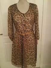 Cremieux Women's Leopard Print Long Sleeve Dress Lined Size 8 *Nwt*