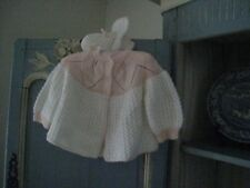 VINTAGE~HAND KNITTED  BABY GIRL 6-9 MOS. PEACH & WHITE SWEATER & BOOTIES  #243