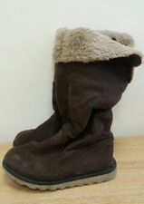 Girls Brown Slouch Boots Size 7 <J7880
