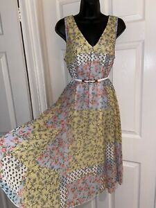 Together Yellow Floral Print Casual Boho Style Midi Dress Size 16 No Belt