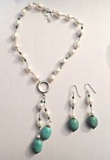 "16-18"" Sterling Silver White Fresh Water Pearl Turquoise Necklace & Earring Set"