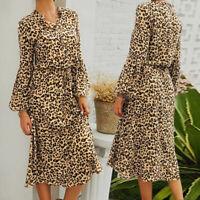 Women Long Sleeve Leopard Party Cocktail Dresses Loose Elastic Waist Shirt Dress