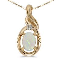 """10k Yellow Gold Oval Opal And Diamond Pendant with 16"""" Chain"""