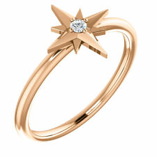 Diamond Solitaire Star Ring In 14K Rose Gold ( Size 7 )